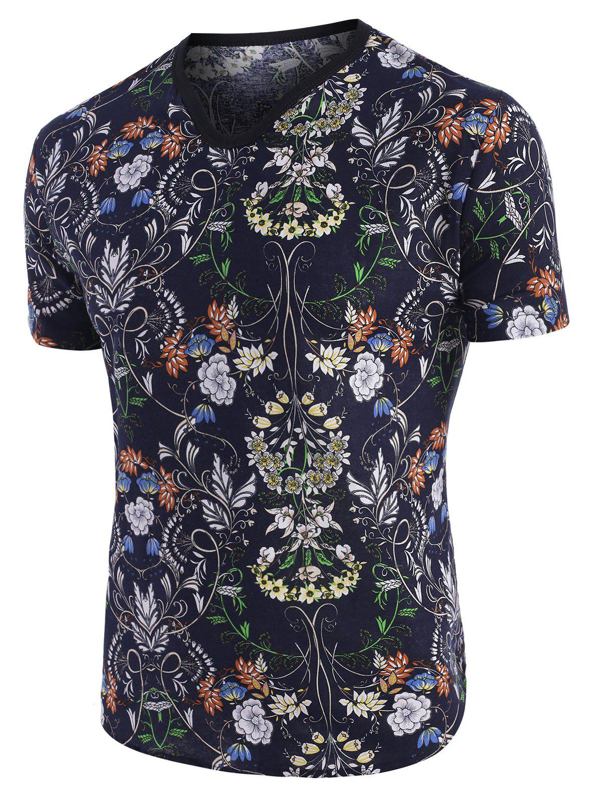 Latest Floral Print Ethnic V Neck Short Sleeve T Shirt