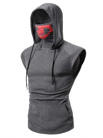 Mask Skull Hooded Pullover Vest