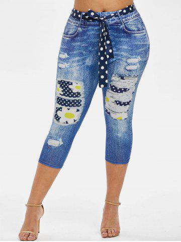 3D Print Dotted Daisy Belted Plus Size Capri Jeggings - BLUE - 2X