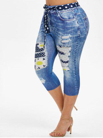 3D Print Dotted Daisy Belted Plus Size Capri Jeggings