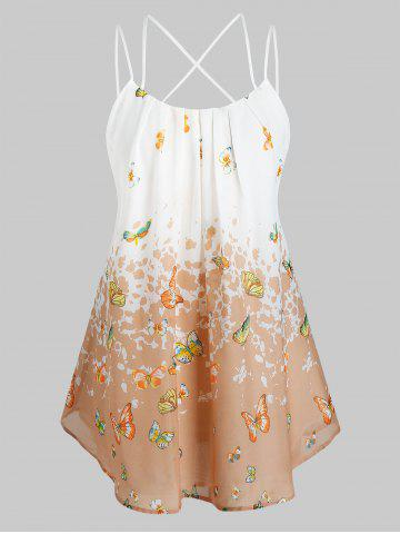 Plus Size Butterfly Print Cross Back Cami Tank Top - BLANCHED ALMOND - 1X