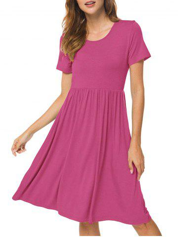 Short Sleeve Pocket Pleated Tee Dress
