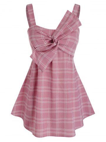 Plus Size Twisted Bowknot Plaid Backless Tunic Tank Top - PINK - 3X