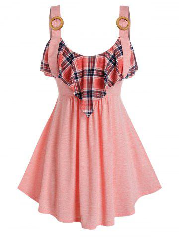 Plus Size High Waist Plaid Tank Top - ORANGE PINK - 4X