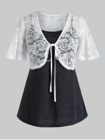 Plus Size Lace Top and Heathered Camisole Set