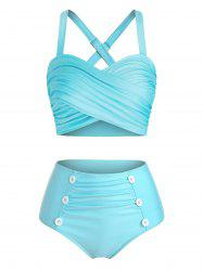 Mock Button Crisscross High Waist Tankini Swimwear -