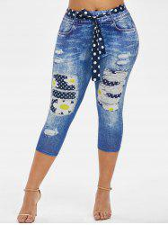 3D Print Dotted Daisy Belted Plus Size Capri Jeggings -