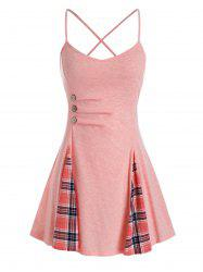 Plus Size Plaid Ruched Criss Cross Cami Tank Top -