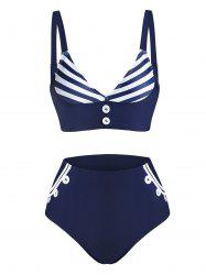 Striped Print Mock Button Padded Tankini Swimwear -