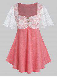 Plus Size Lace Sheer Flutter Sleeve Square Neck Tee -