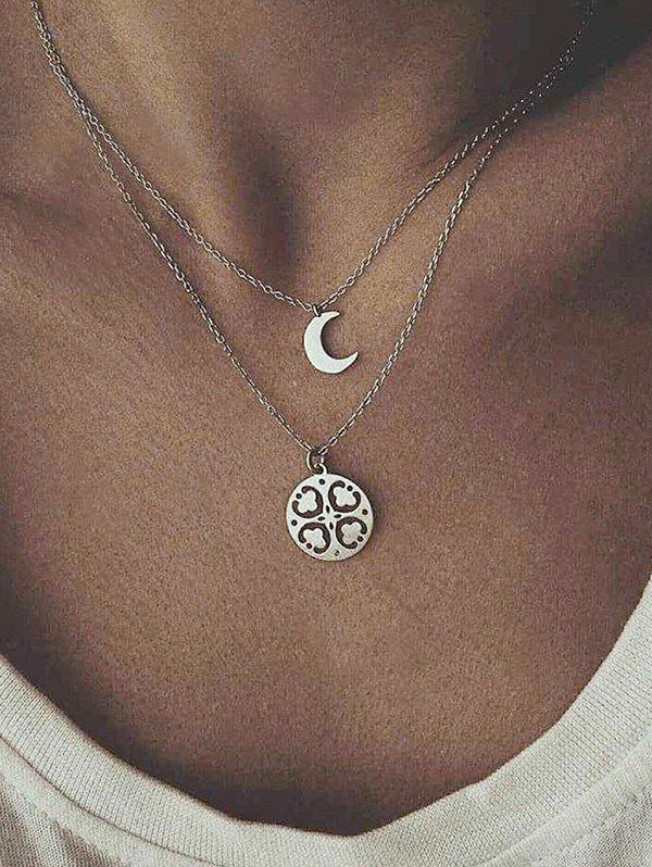 Double Layer Moon Flower Chain Necklace, Silver