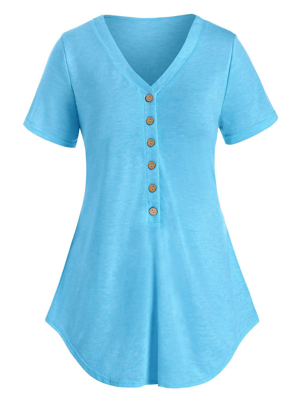 Plus Size Half Button Heathered Curved T Shirt Rosegal