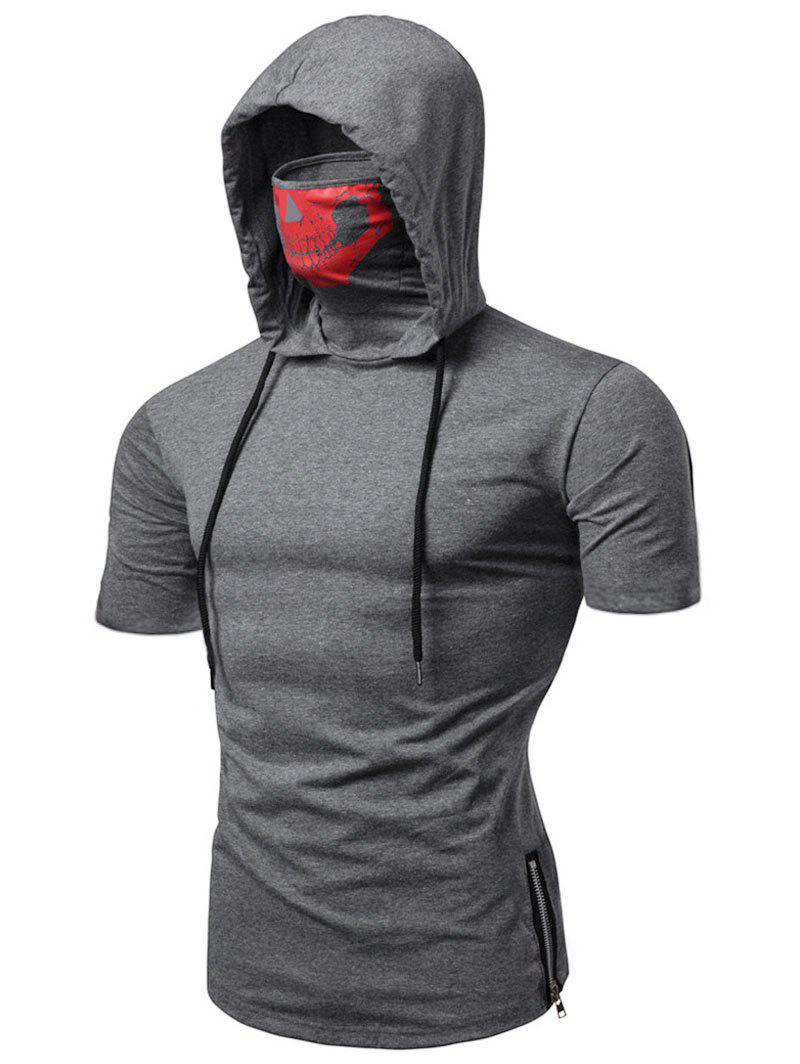Outfits Skull Mask Hooded Short Sleeve T Shirt