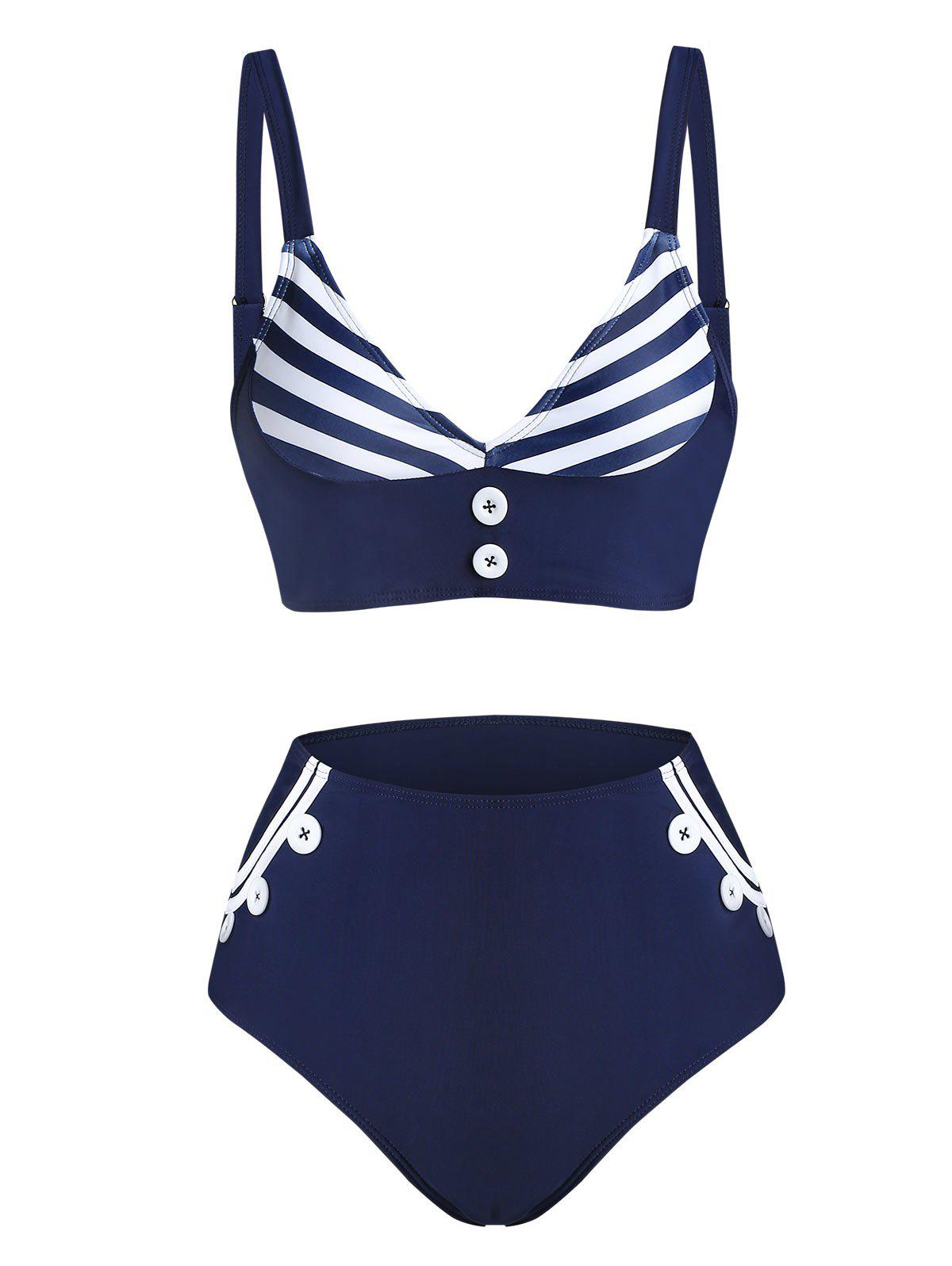 Shop Striped Print Mock Button Padded Tankini Swimwear