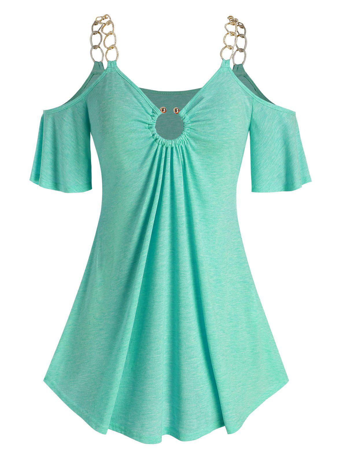 Buy Plus Size O Ring Open Shoulder Chains T Shirt