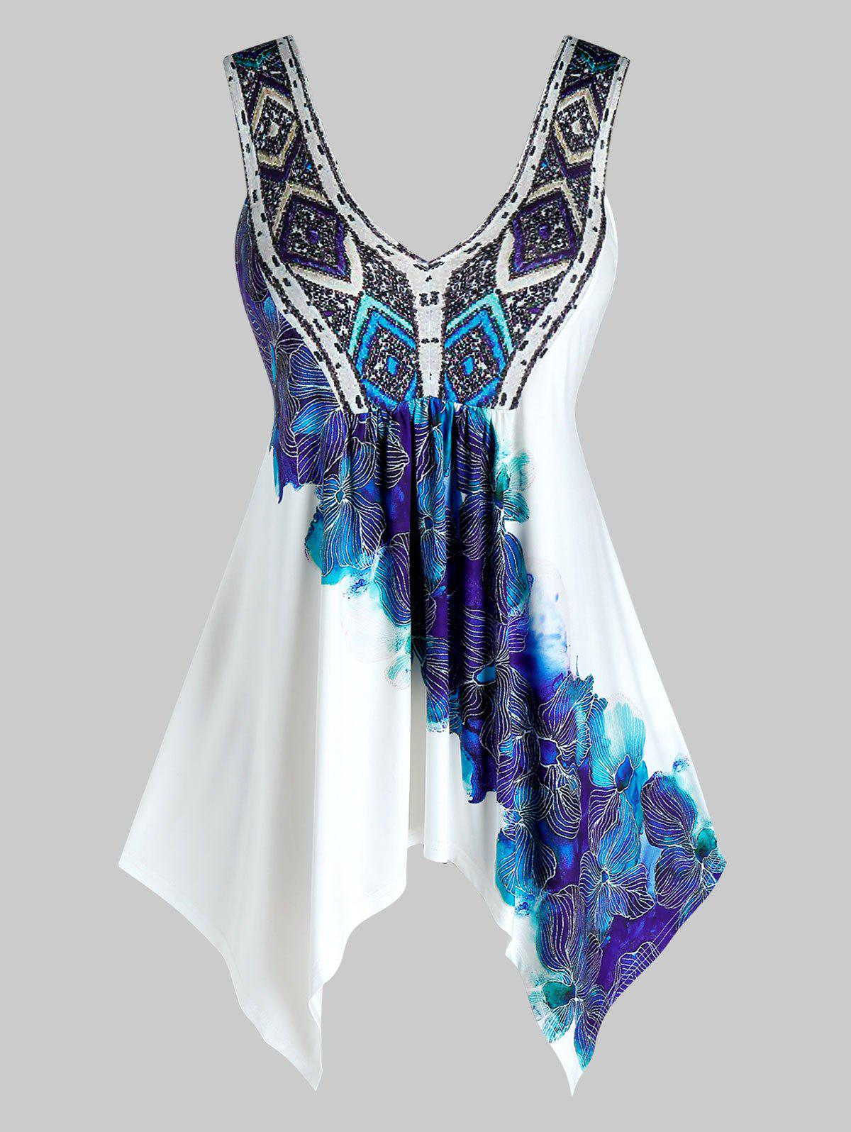 Latest Plus Size Handkerchief Printed Plunging Neck Tank Top