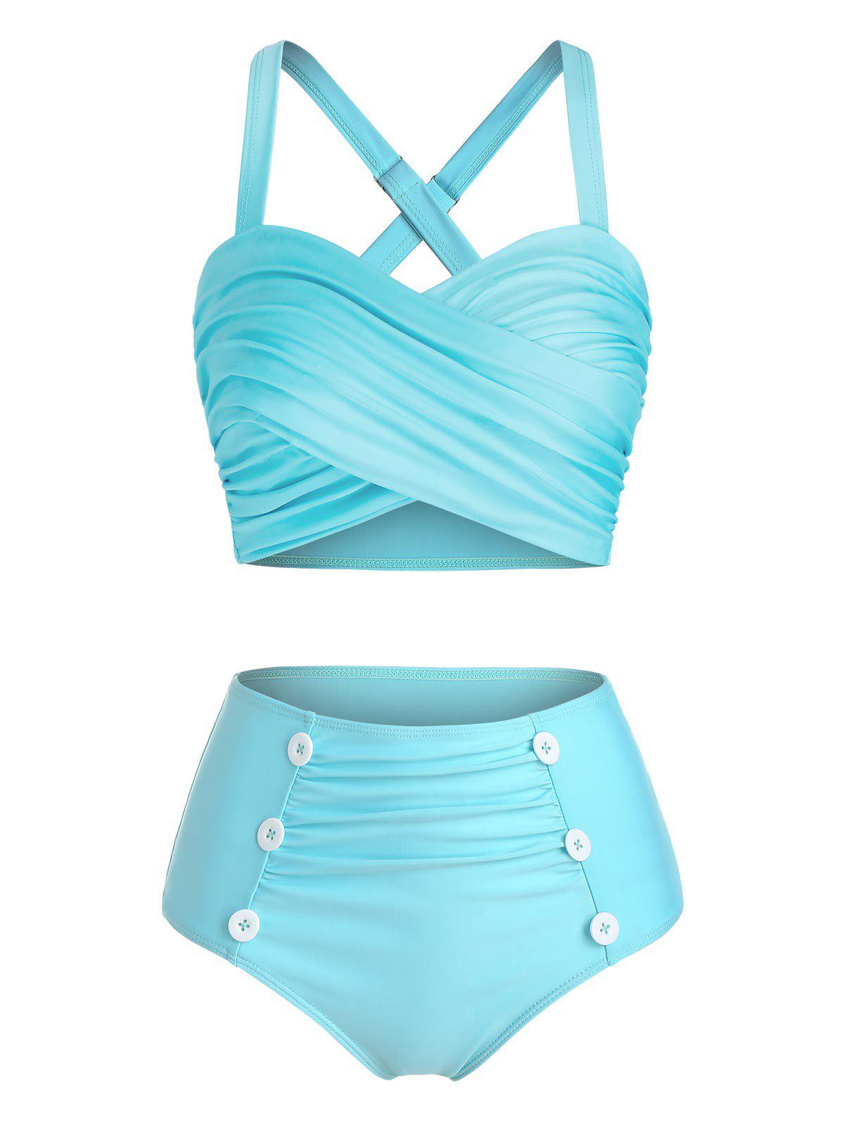 Store Mock Button Crisscross High Waist Tankini Swimwear