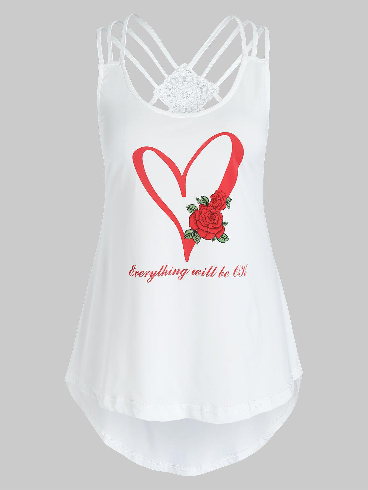 Chic Plus Size Graphic Heart Print Strappy Tank Top