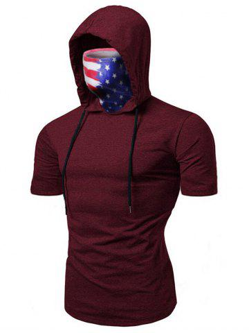 American Flag Mask Hooded Drawstring Short Sleeve T-shirt - DEEP RED - XL