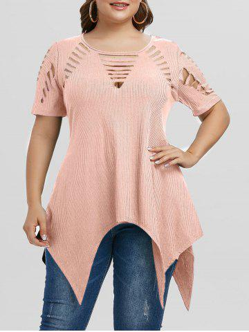 Plus Size Asymmetric Ripped Cutout Ribbed Handkerchief Tee - PINK - L