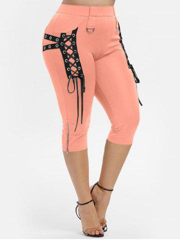 Plus Size Grommet Lace Up Zip D Ring Cropped Pants