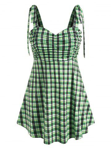 Plus Size Plaid Tie Shoulder Ruched Tank Top