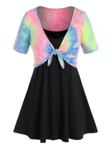 Plus Size Tie Dye Top and Swing Camisole Set