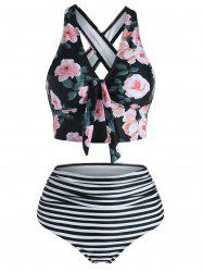 Floral Striped Knot Crisscross Tankini Swimwear -
