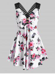 Flower Print Criss Cross Ruched Button Embellished Tank Dress -