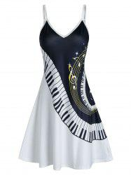 Music Piano Print Cami A Line Dress -