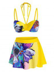 Plus Size Flower Underwire Push Up Skirted Bikini Swimwear -