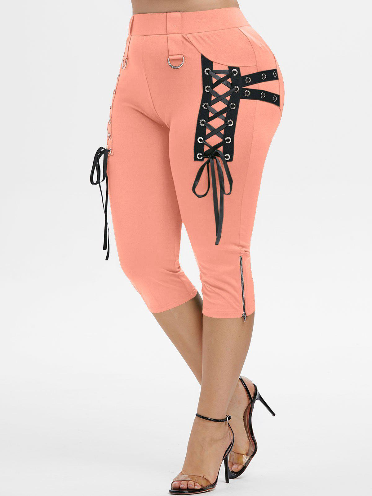 Outfit Plus Size Grommet Lace Up Zip D Ring Cropped Pants
