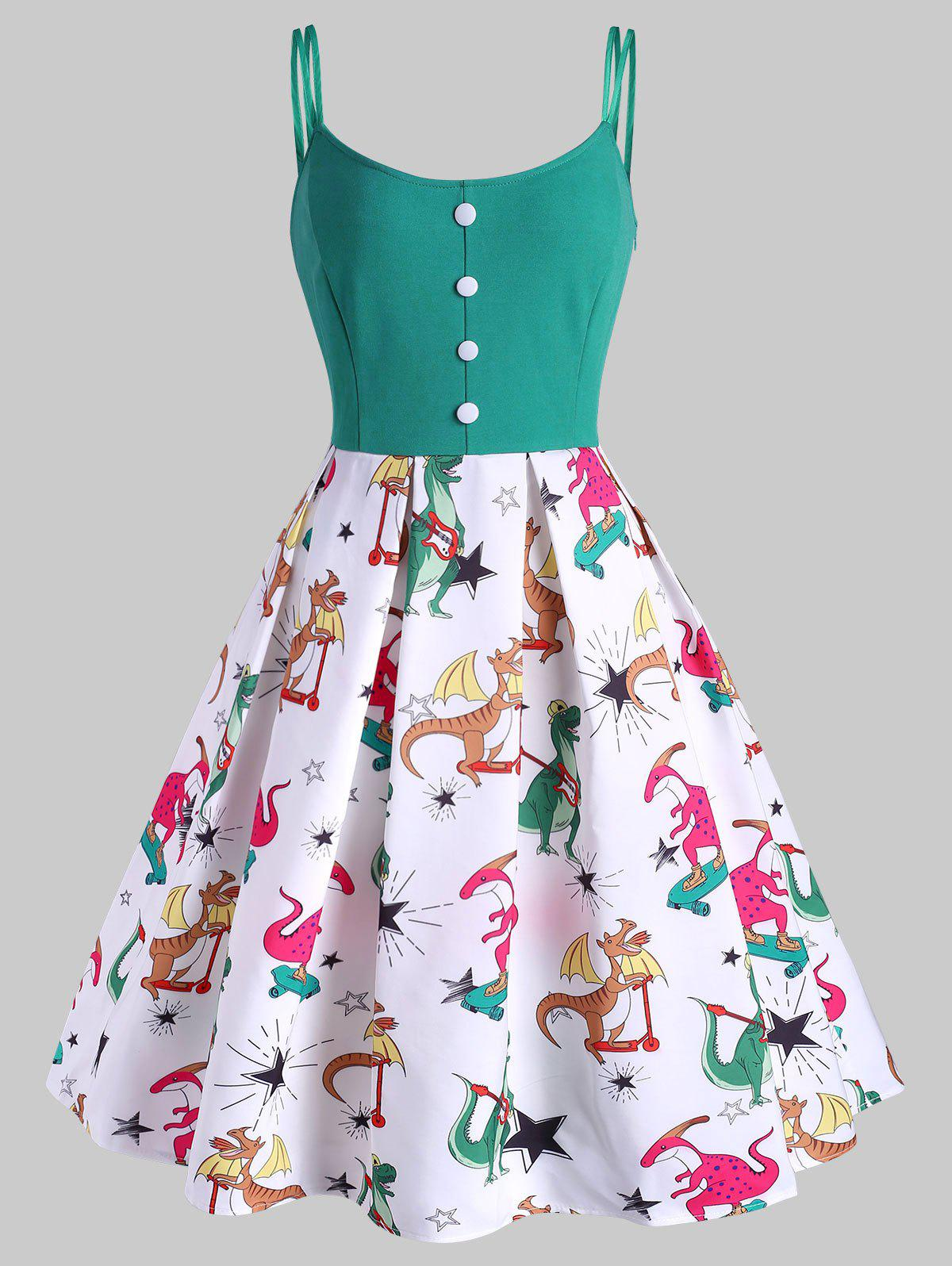 Unique Dinosaur Print Button Embellished High Waisted Dress