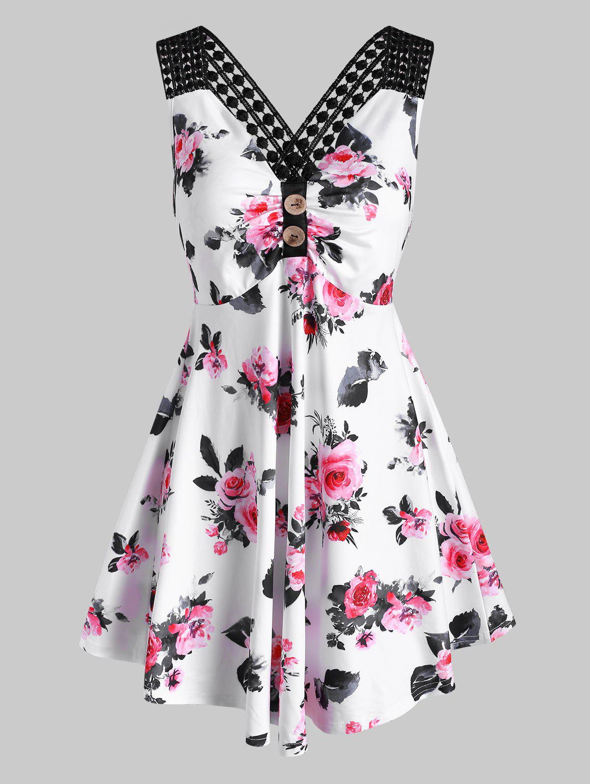 Sale Flower Print Criss Cross Ruched Button Embellished Tank Dress
