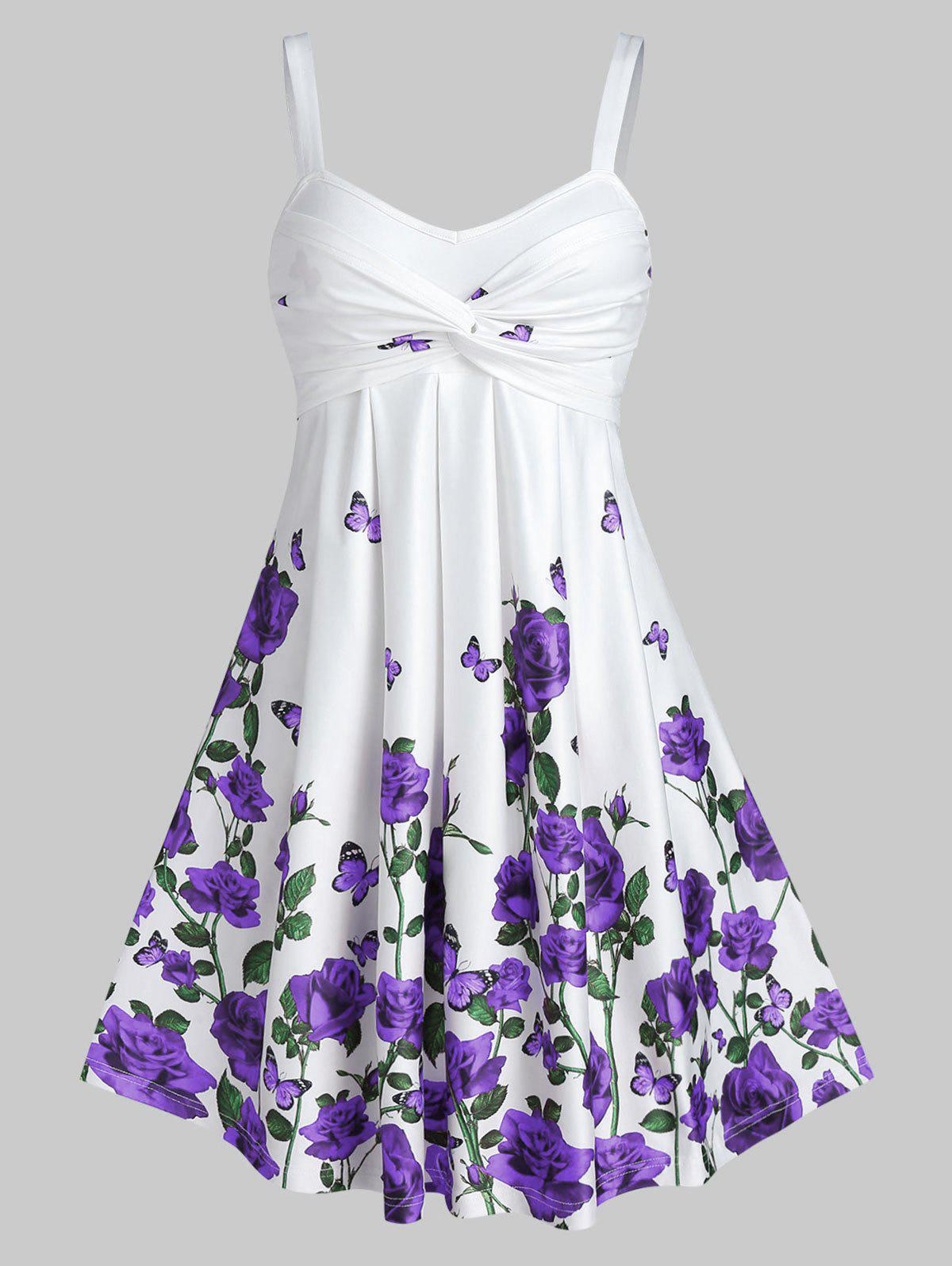 Discount Rose Flower Print High Waist A Line Dress