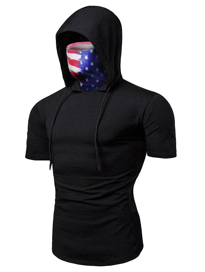 Outfit American Flag Mask Hooded Drawstring Short Sleeve T-shirt