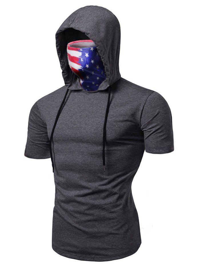 Unique American Flag Mask Hooded Drawstring Short Sleeve T-shirt