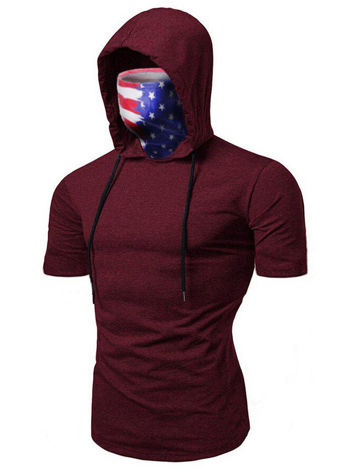 Cheap American Flag Mask Hooded Drawstring Short Sleeve T-shirt