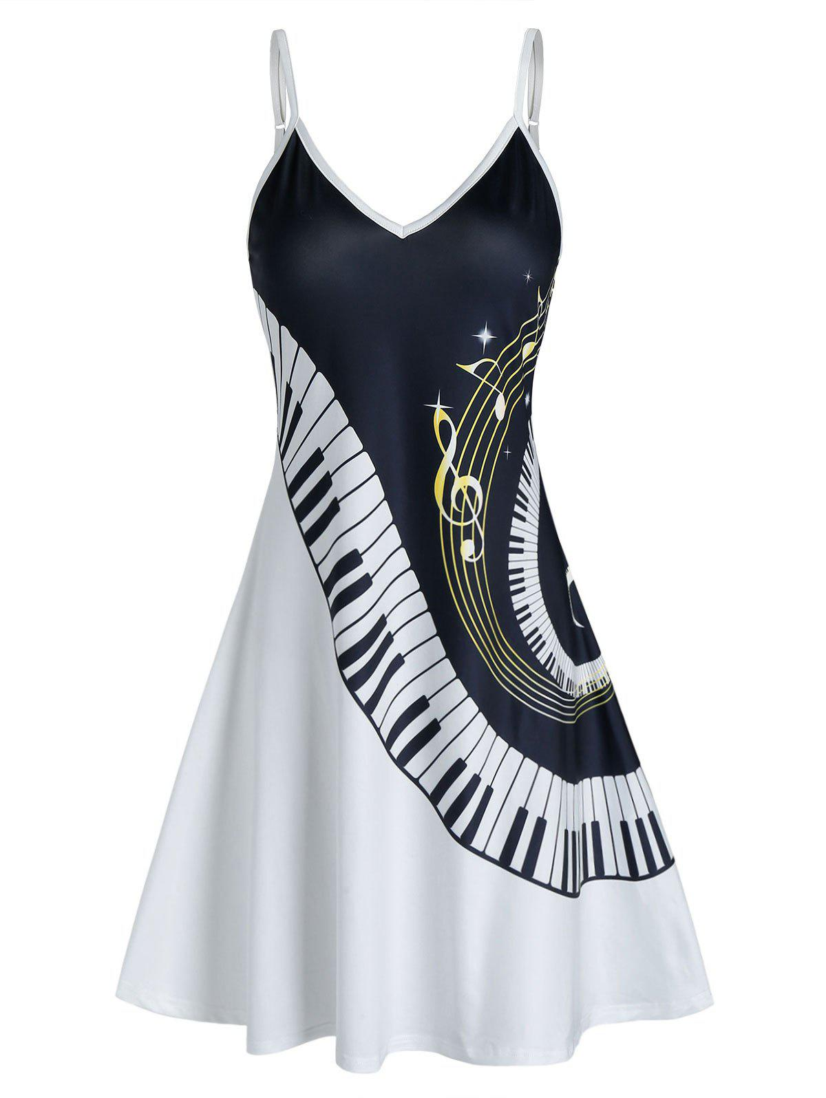 Cheap Music Piano Print Cami A Line Dress