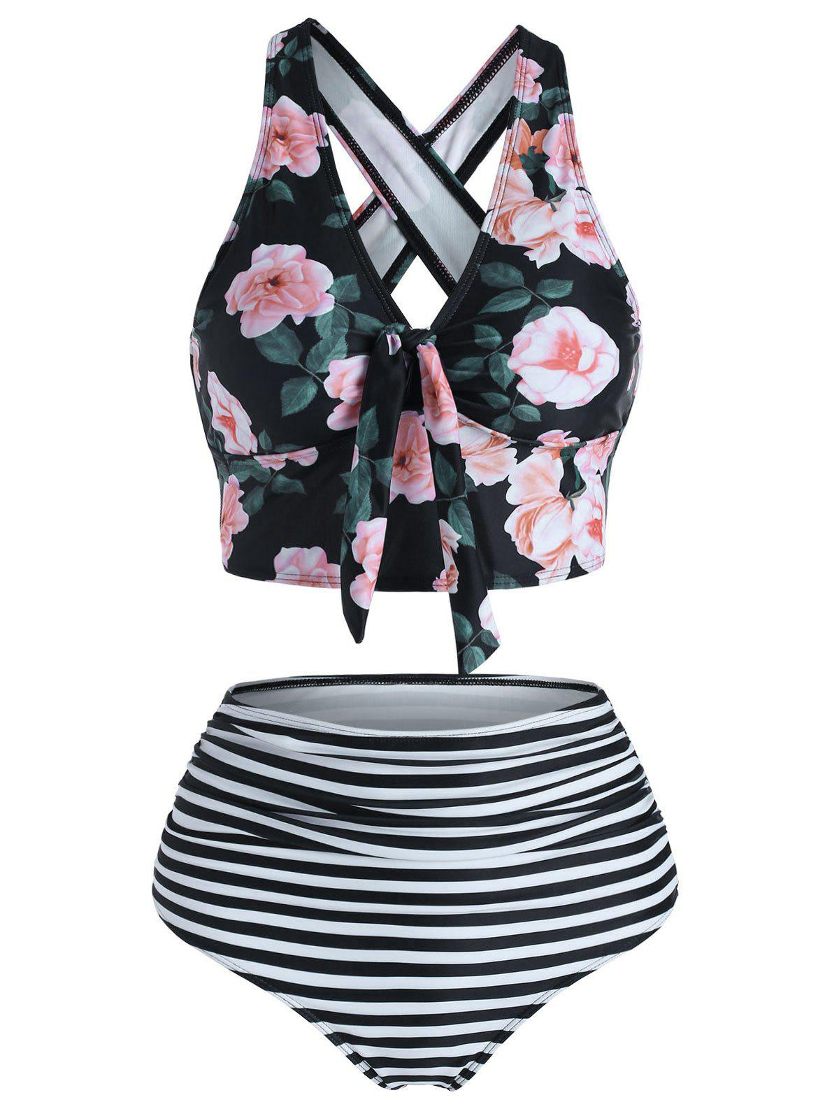 Shop Floral Striped Knot Crisscross Tankini Swimwear