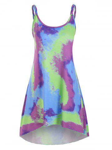 Tie Dye Braided Strap Tunic Dress