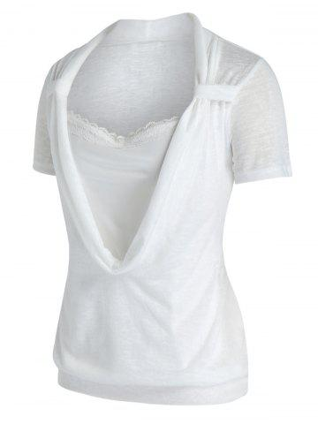 Plus Size Cowl Front Marled Lace Embellished T Shirt - WHITE - 3X