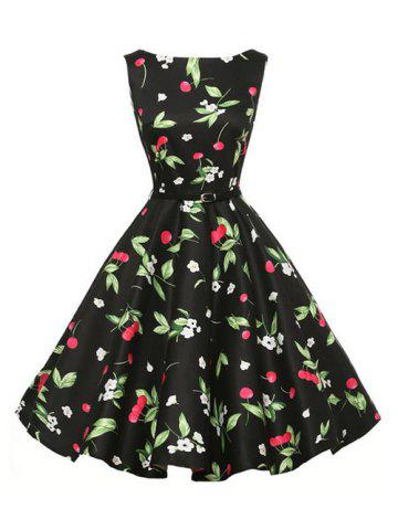 Belted Floral Cherry Print Sleeveless Dress