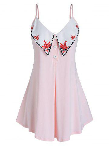 Plus Size Scalloped Embroidered Placket Tunic Cami Top