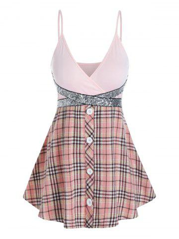 Plus Size Plaid Sparkly Sequined Surplice Backless Cami Top - PINK - 4X