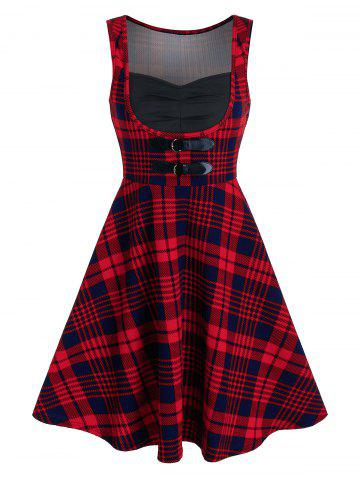 Tartan Print Dual Buckle Sleeveless Vintage Dress