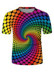 Swirl Spotted Crew Neck Short Sleeve Casual T-shirt -