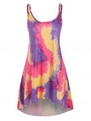 Tie Dye Braided Strap Tunic Dress -