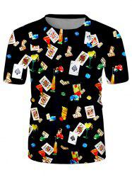 Poker Card Cocktail Print Crew Neck Casual T Shirt -