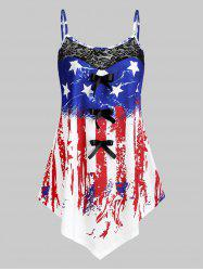 Plus Size American Flag Print Asymmetric Tank Top -